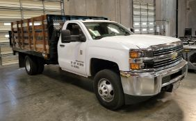 2016 CHEVROLET SILVERADO 3500 HD 13' STAKE BED TRUCK W/ TOMMY LIFT LIFTGATE, GASOLINE, 27,975 MILES,