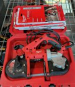 MILWAUKEE PORTABLE BAND SAW, CAT. NO. 6242-6, W/ CASE AND EXTRA BLADES, NEEDS NEW CORD