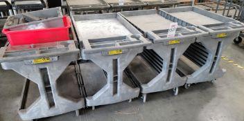 LOT - (4) PLASTIC SHOP CARTS BY AKRO-MILS, 400 LB CAPACITY