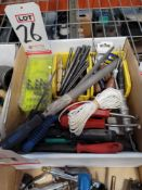 LOT - MISC HAND TOOLS: SCRATCH AWLS, CENTER PUNCHES, FILES, ETC.