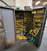 LOT - 2-DOOR STORAGE CABINET W/ HANGING BINS OF NUTS, BOLTS, WASHERS, ETC.