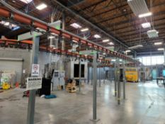 WEBB-STYLES OVERHEAD CONVEYOR SYSTEM FOR THE GEMA POWDER COATING LINE (PHOTOS SHOW BEFORE AND