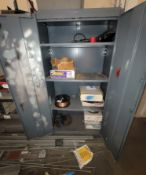LOT - (3) SHELF UNITS & (1) 2-DOOR STORAGE CABINET, W/ CONTENTS OF WELDING RELATED ITEMS