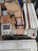 LOT - PALLET OF MISC ITEMS: AIR CONDITIONER, BROKEN VARIABLE FREQUENCY DRIVES, ETC.