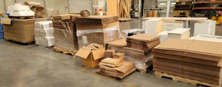 LOT - APPROX. (6) PALLETS OF SHIPPING BOXES, CORNER PROTECTORS, ETC.