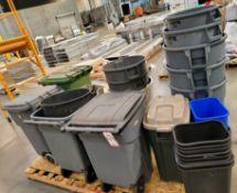 LOT - PLASTIC TRASH CANS: RUBBERMAID, BRUTE, ETC.