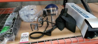 LOT - 4 ML POLY SHEETING 6', SANDBAG WEIGHT, PIPE INSULATION, RUBBER STRAP WRENCH, FACE SHIELD