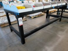 """STEEL FRAMED/WOOD TOPPED TABLE, 7' X 34"""", CONTENTS NOT INCLUDED"""
