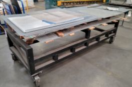"""LOT - MATERIAL TRANSFER TABLE ON CASTERS, 9' X 42"""", W/ CONTENTS OF MISC SHEET STOCK"""