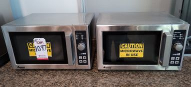 LOT - (2) AMANA COMMERCIAL 1500 WATT MICROWAVE OVENS