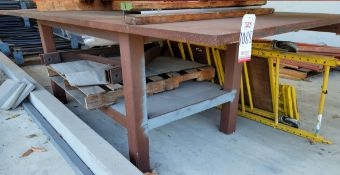 "WELDING TABLE, TOP MEASURES 10' X 5' X 1-5/16"" THICK, TOP & BASE ARE NOT ATTACHED"