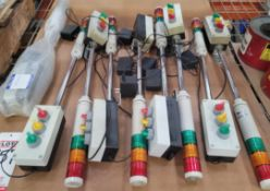 LOT - (9) PATLITE LCE-02 LED SIGNAL TOWERS, W/ ALARMS
