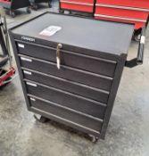 KENNEDY 5-DRAWER BOTTOM TOOL BOX W/ KEYS, ON CASTERS, EMPTY