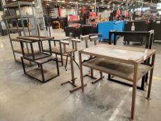 LOT - MISC STEEL TABLES, STANDS, SHELVES, ETC.