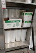 STAINLESS STEEL CABINET ON CASTERS, W/ CONTENTS: (20) ROLLS OF STRETCH FILM FOR PALLET WRAPPER,