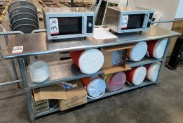 LOT - (2) AMANA COMMERCIAL 1500 WATT MICROWAVE OVENS, W/ COMMERCIAL KITCHEN SS TABLE, SEVERAL