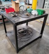 LOT - STEEL TABLE, W/ CONTENTS OF WELDING RELATED ITEMS