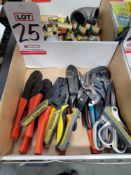 LOT - MISC HAND TOOLS: CRIMPERS, TIN SNIPS, WIRE STRIPPERS, ETC.