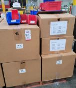 LOT - PALLET OF PLASTIC AKRO BINS, VARIOUS SIZES AND COLORS
