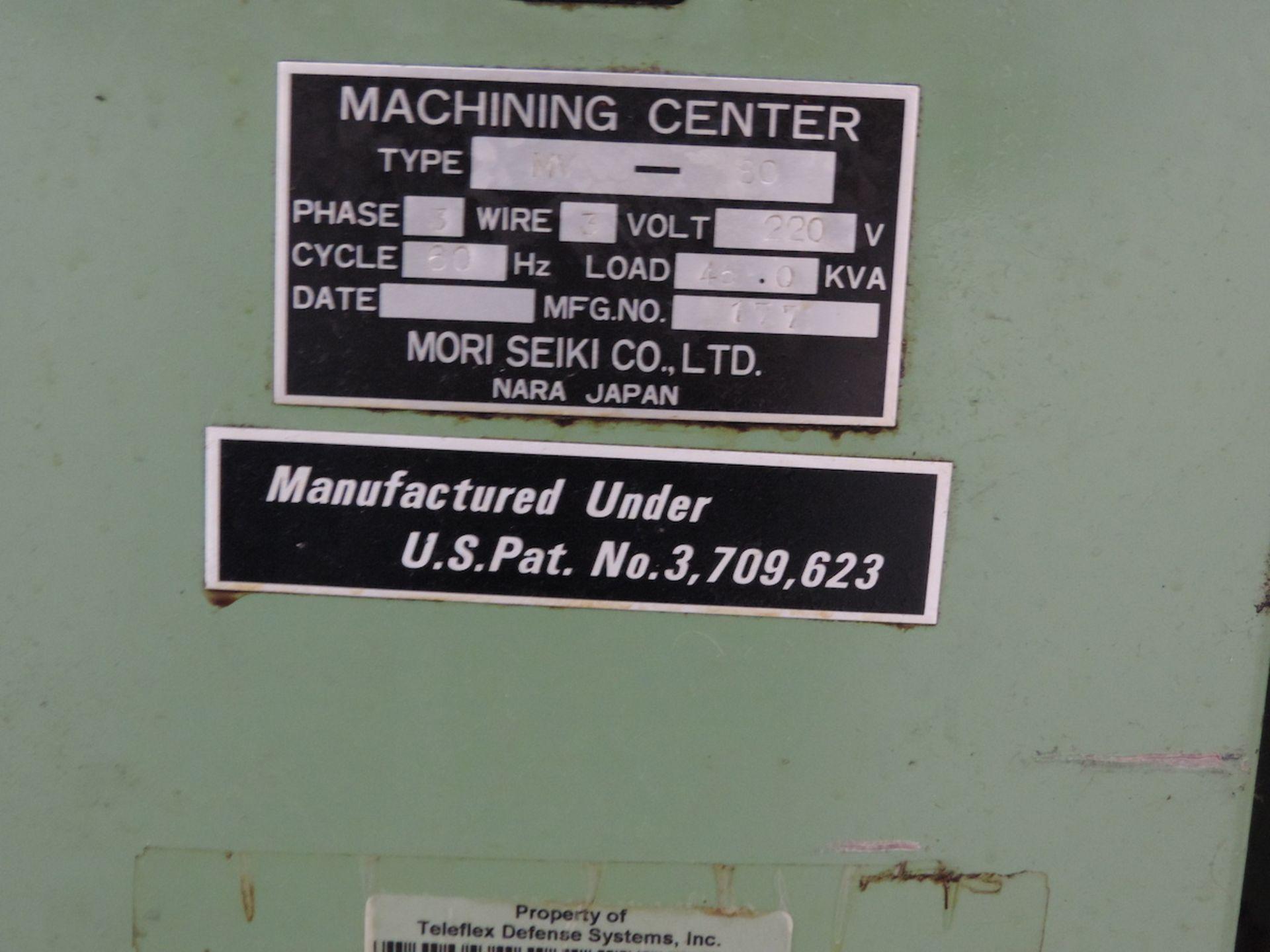 "MORI SEIKI MV-80 VMC, YASNAC MX-1 CONTROL, XYZ TRAVELS: 60"" X 31"" X 29"", 74"" X 32"" TABLE, 50 SPINDLE - Image 12 of 13"