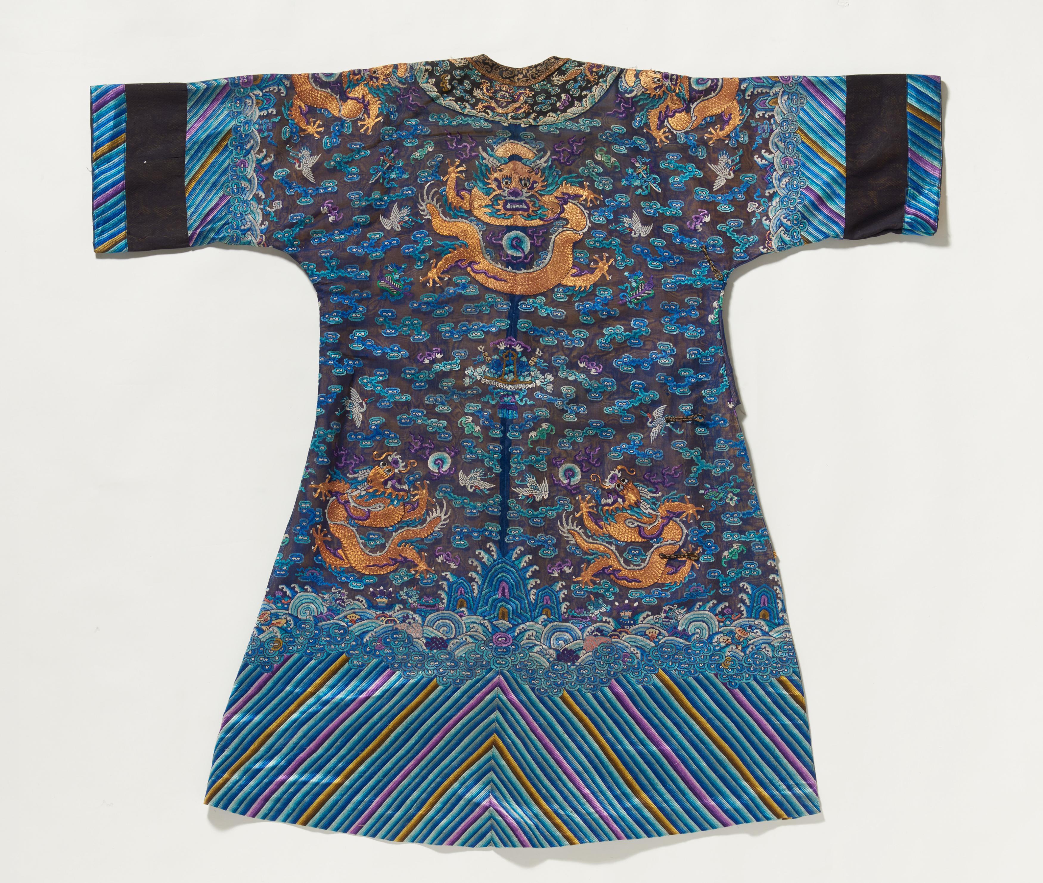 Lot 17 - BLUE DRAGON ROBE FOR MIDSUMMER. Origin: China. Dynasty: Qing dynasty. Date: 19th-early 20th c.