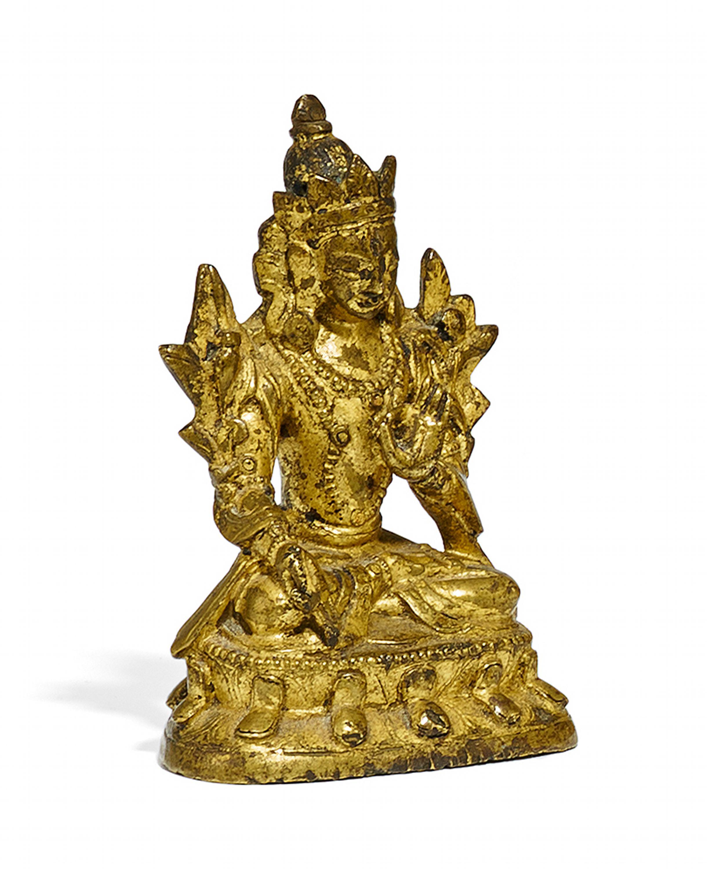 Lot 49 - RARE DEPICTION OF SIDDHAIKAVIRA. Origin: Tibet. Date: 18th c. Technique: Fire gilt old bronze.
