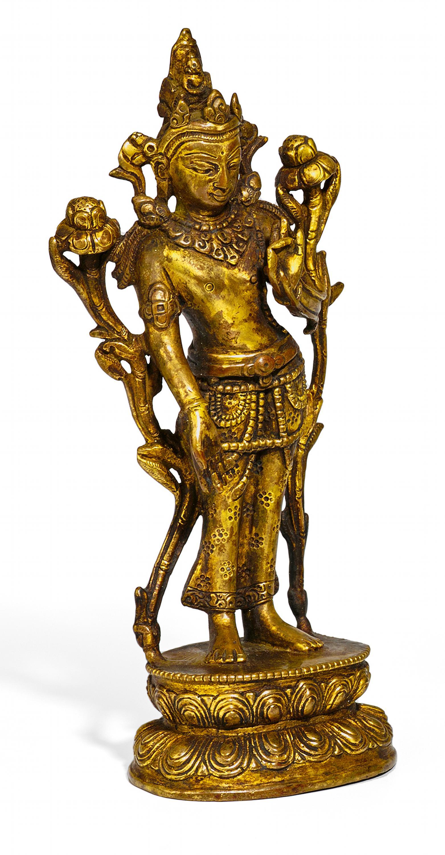 Lot 43 - BODHISATTVA PADMAPANI. Origin: Tibet. Date: Sculpture in Pala style. Technique: Bronze with