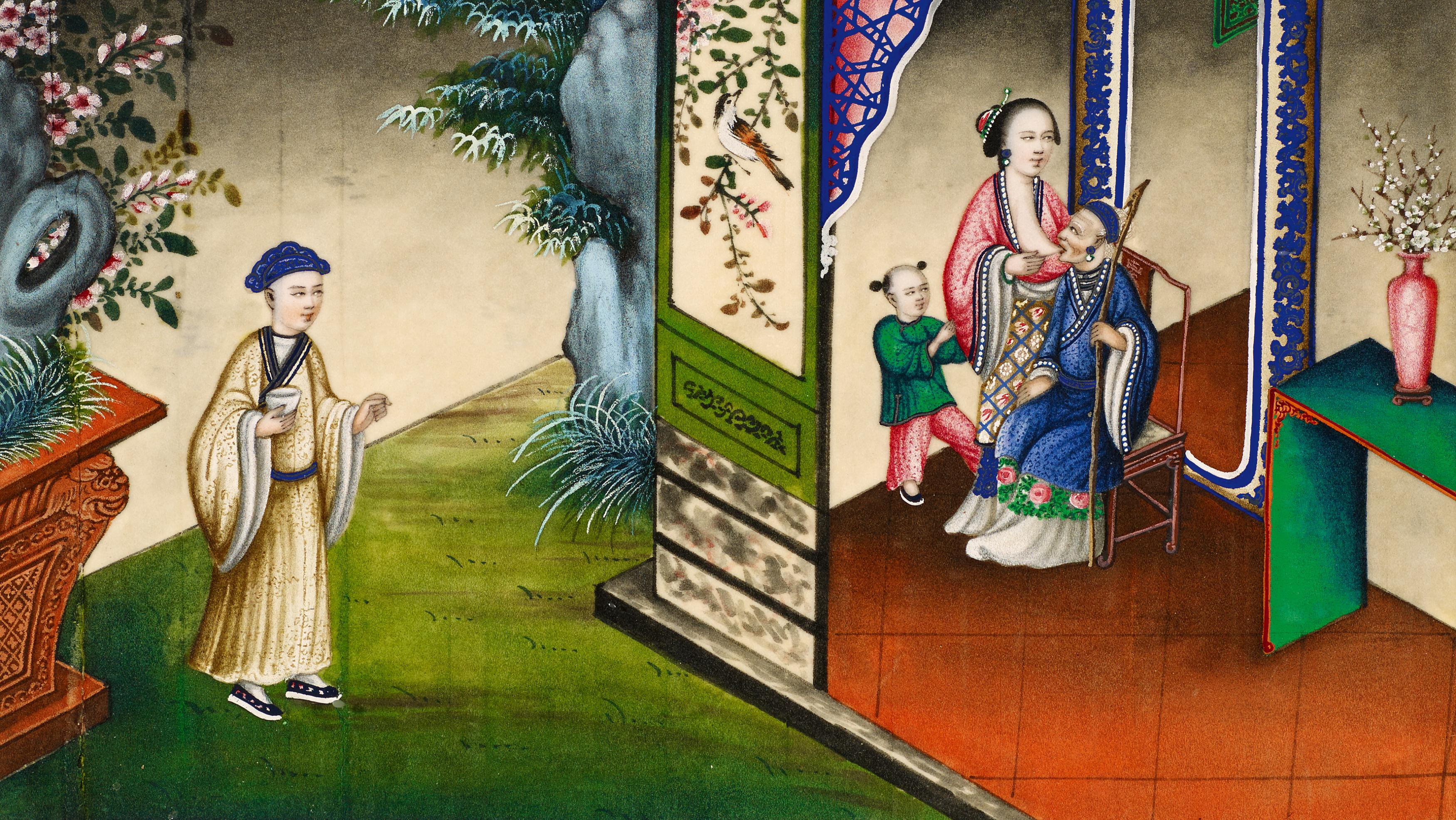 Lot 32 - SEVEN SCENES FROM THE 24 PARAGONS OF FILIAL PIETY. Origin: China. Dynasty: Late Qing dynasty.