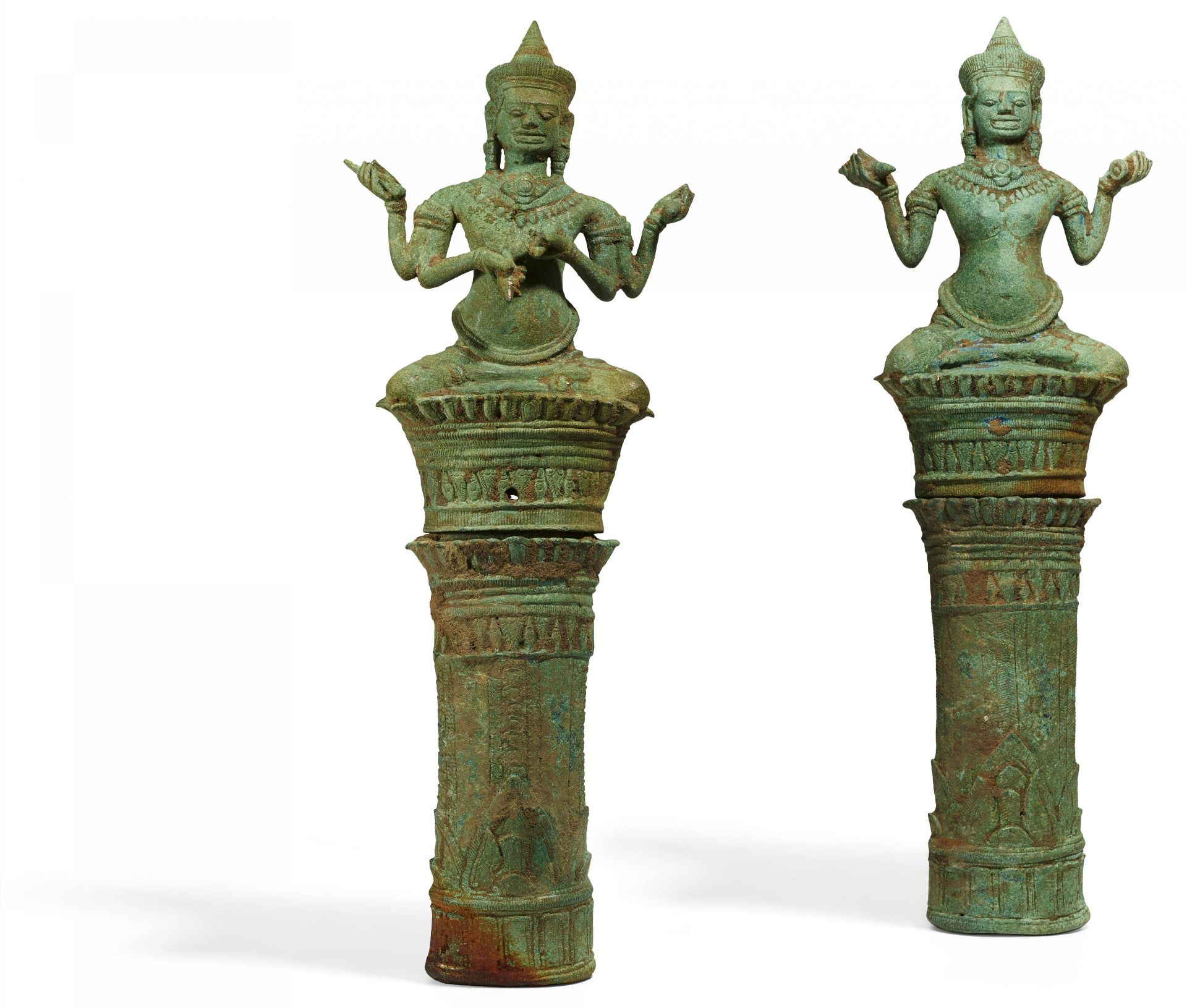Los 55 - TWO RARE TANTRIC BUDDHIST FIGURES ON HIGH PEDESTALS. Origin: Khmer. Angkor Wat. Dynasty: Bayon