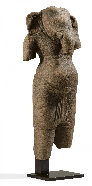 Lot 52 - FINE AND RARE STANDING GANESHA. Origin: Khmer. Dynasty: Pre Khmer period. Date: 7th/8th c.