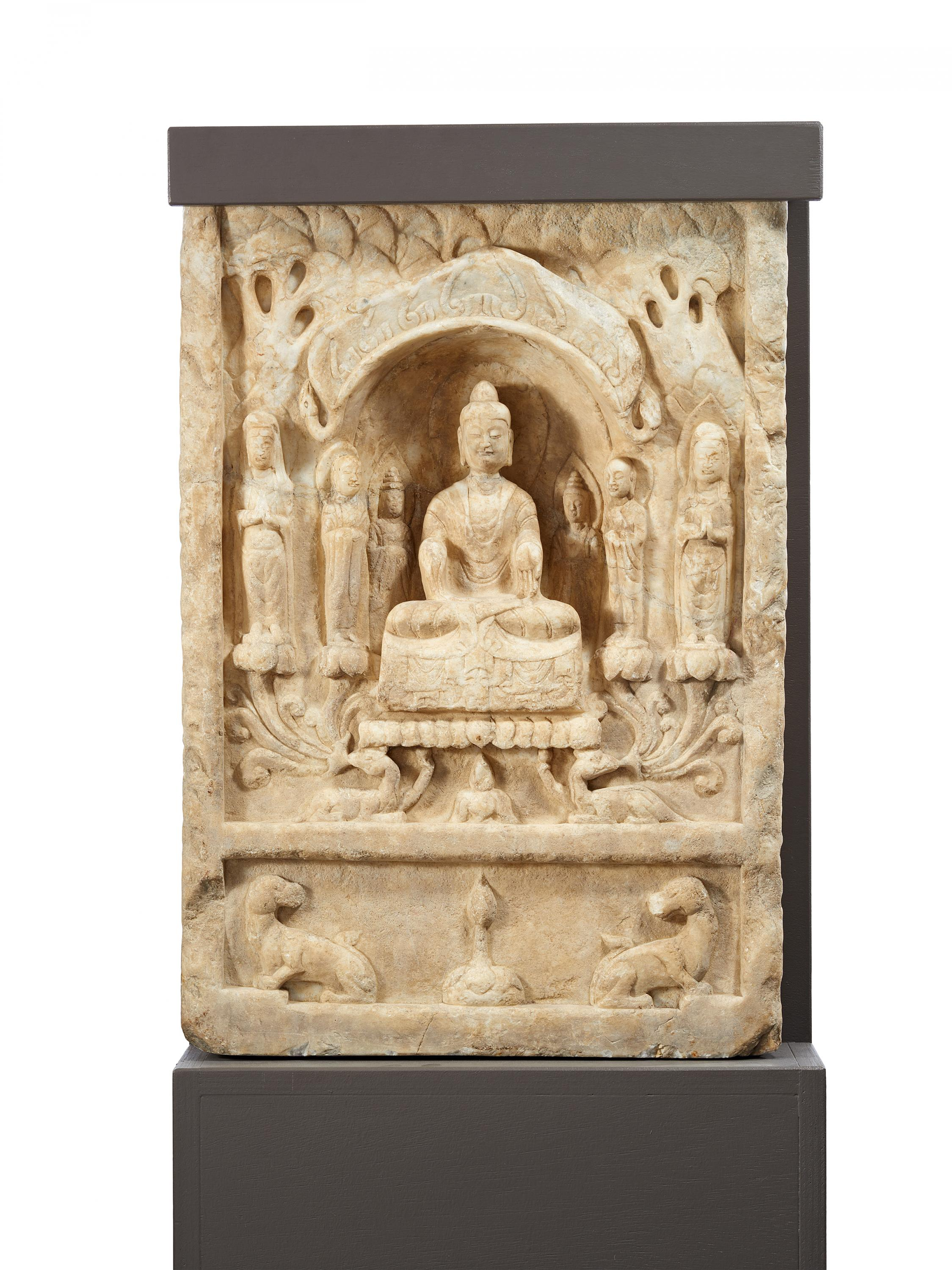 Lot 13 - STELE WITH BUDDHA, BODHISATTVA AND MONKS. Origin: China. Dynasty: Northern and Southern dynasties (