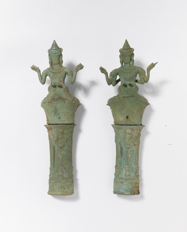 Lot 55 - TWO RARE TANTRIC BUDDHIST FIGURES ON HIGH PEDESTALS. Origin: Khmer. Angkor Wat. Dynasty: Bayon