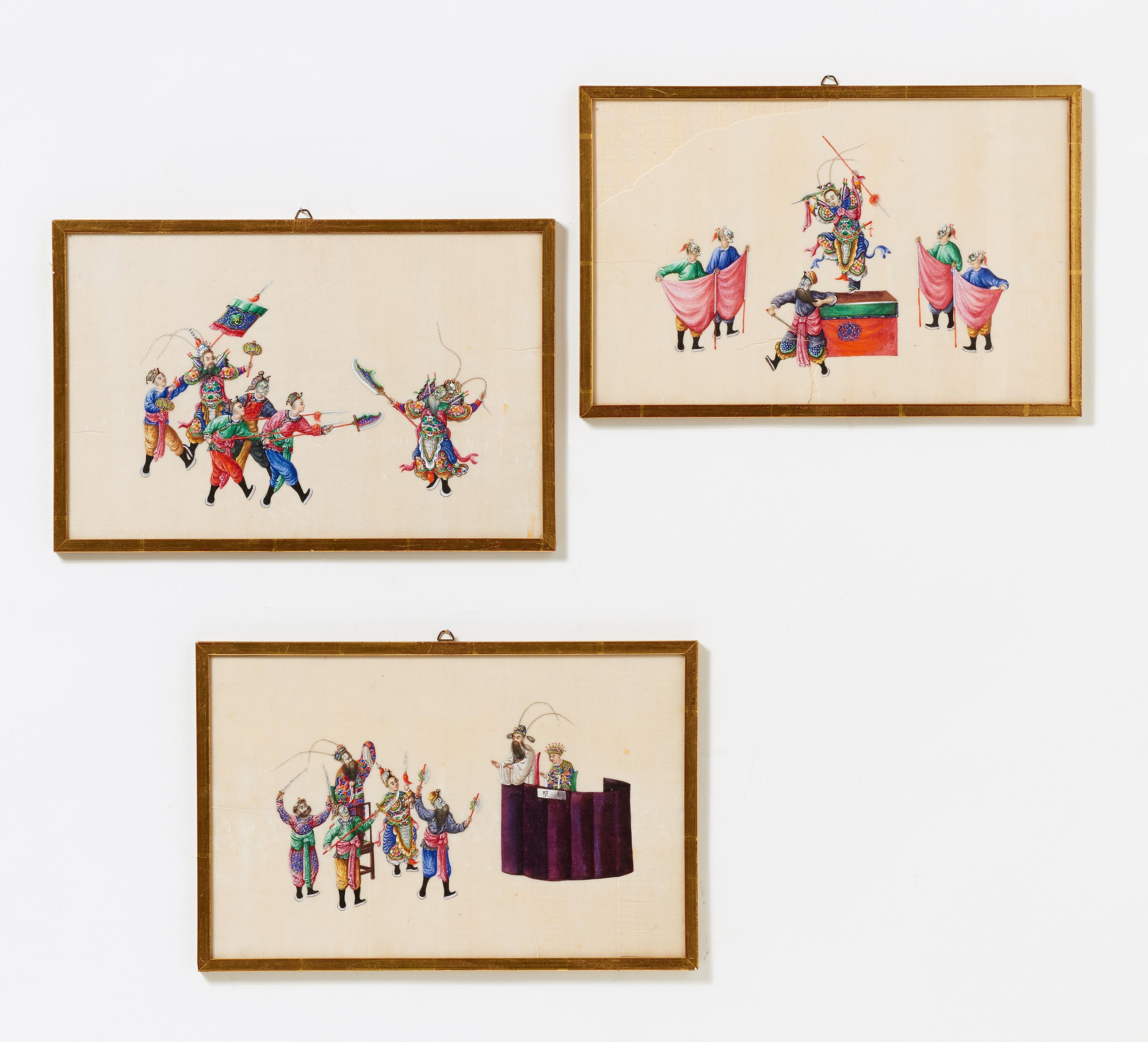 Lot 31 - THREE OPERA SCENES. Origin: China. Canton. Dynasty: Qing dynasty (1644-1911). Maker/Designer: In the