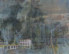 """BIERSTEDT, INA1965 SalzwedelTitel: """"Landschaft"""". Datierung: 2007. Technik: Öl und Acryl auf"""