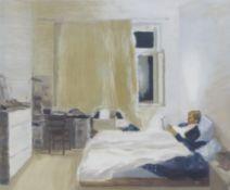 BISANG, IRENE1981 LuzernTitel: Im Bett. Datierung: 2007. Technik: Öl auf Holz. Maße: 25 x 30cm.