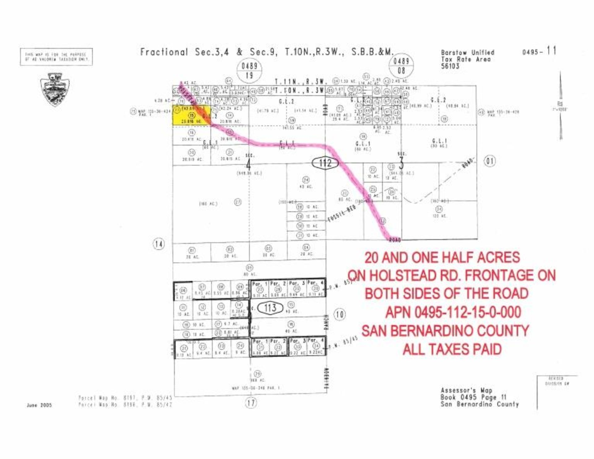 Lot 497 - 20.616 Acre Vacant Parcel, Near Barstow,
