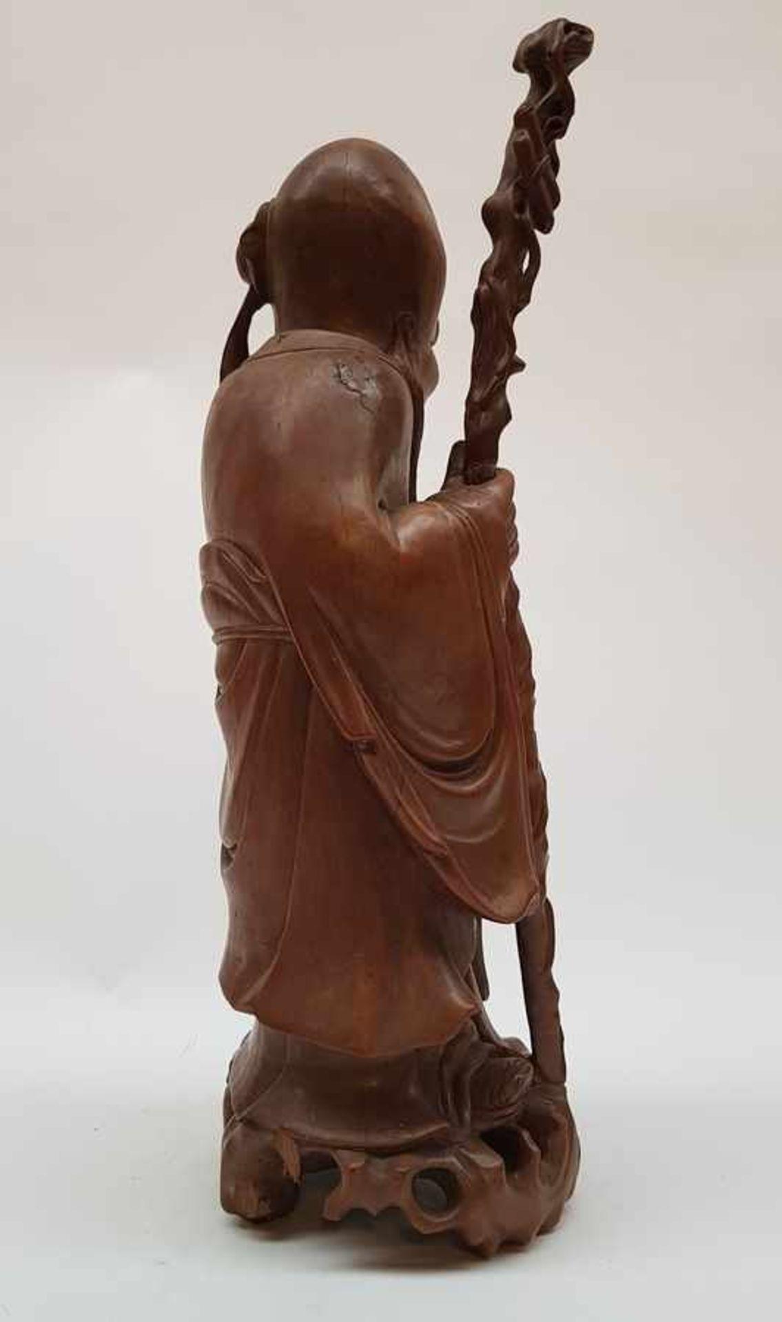 (Aziatica) Rozenhouten beeld Shou Lao, China, eerste helft 20e eeuw - Bild 4 aus 8