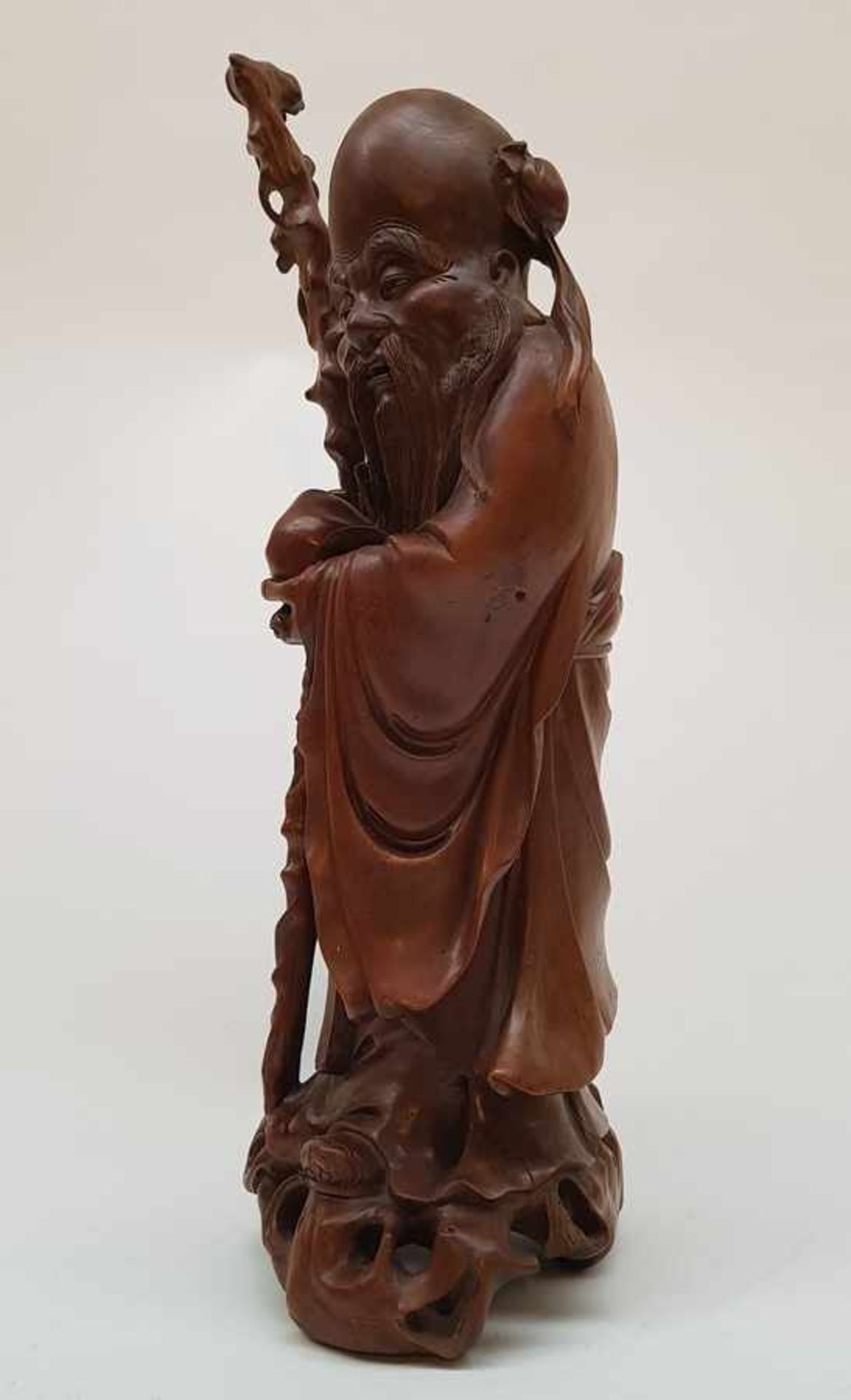 (Aziatica) Rozenhouten beeld Shou Lao, China, eerste helft 20e eeuw - Bild 5 aus 8