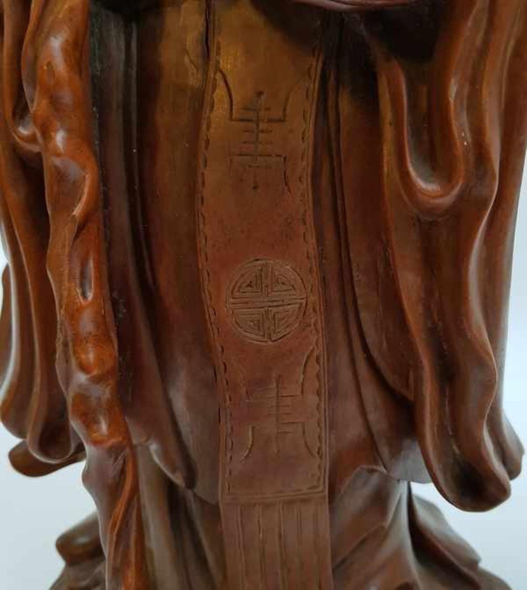 (Aziatica) Rozenhouten beeld Shou Lao, China, eerste helft 20e eeuw - Bild 3 aus 8