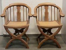 (Aziatica) Chinese armstoelenTwee Chinese houten armstoelen 20e eeuw. Conditie: In goede staat.