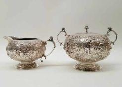 (Zilver) Zilver, Friese melkkan en suikerpot 1926. Nederland.Zilver, Friese melkkan en suikerpot