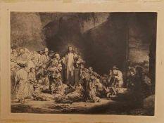 """(Curiosa) Reproductie honderd gulden prent Rembrandt """"Christus en de zieken genezend""""Reproductie van"""