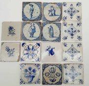 (Antiek) Antieke tegelsLot met 18e en 19e eeuwse blauw/ witte tegels, 14 in totaal. Conditie:
