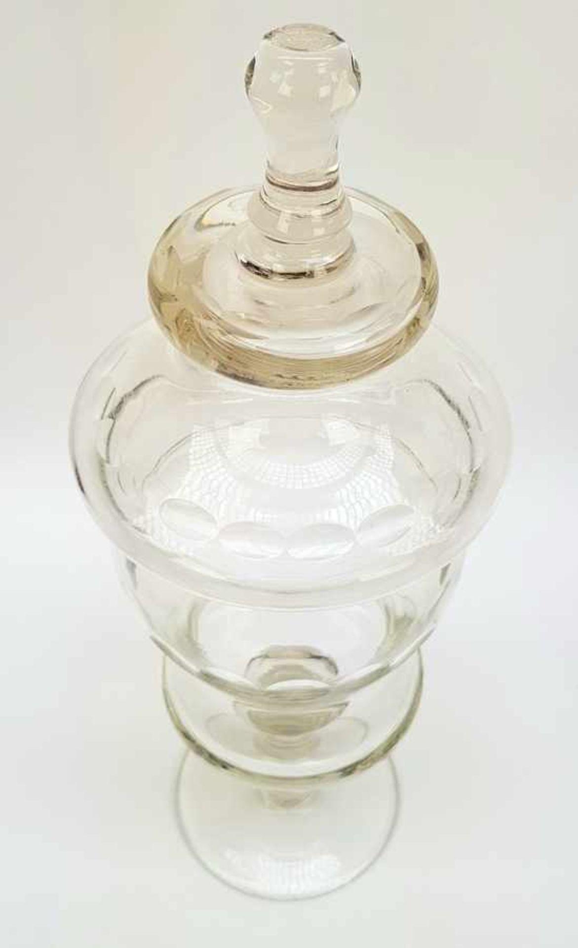 (Antiek) Glazen koekjespot en bowl schaal - Image 3 of 7