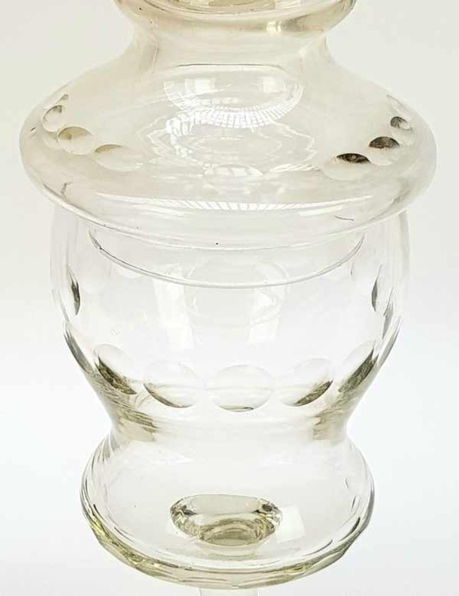 (Antiek) Glazen koekjespot en bowl schaal - Image 4 of 7