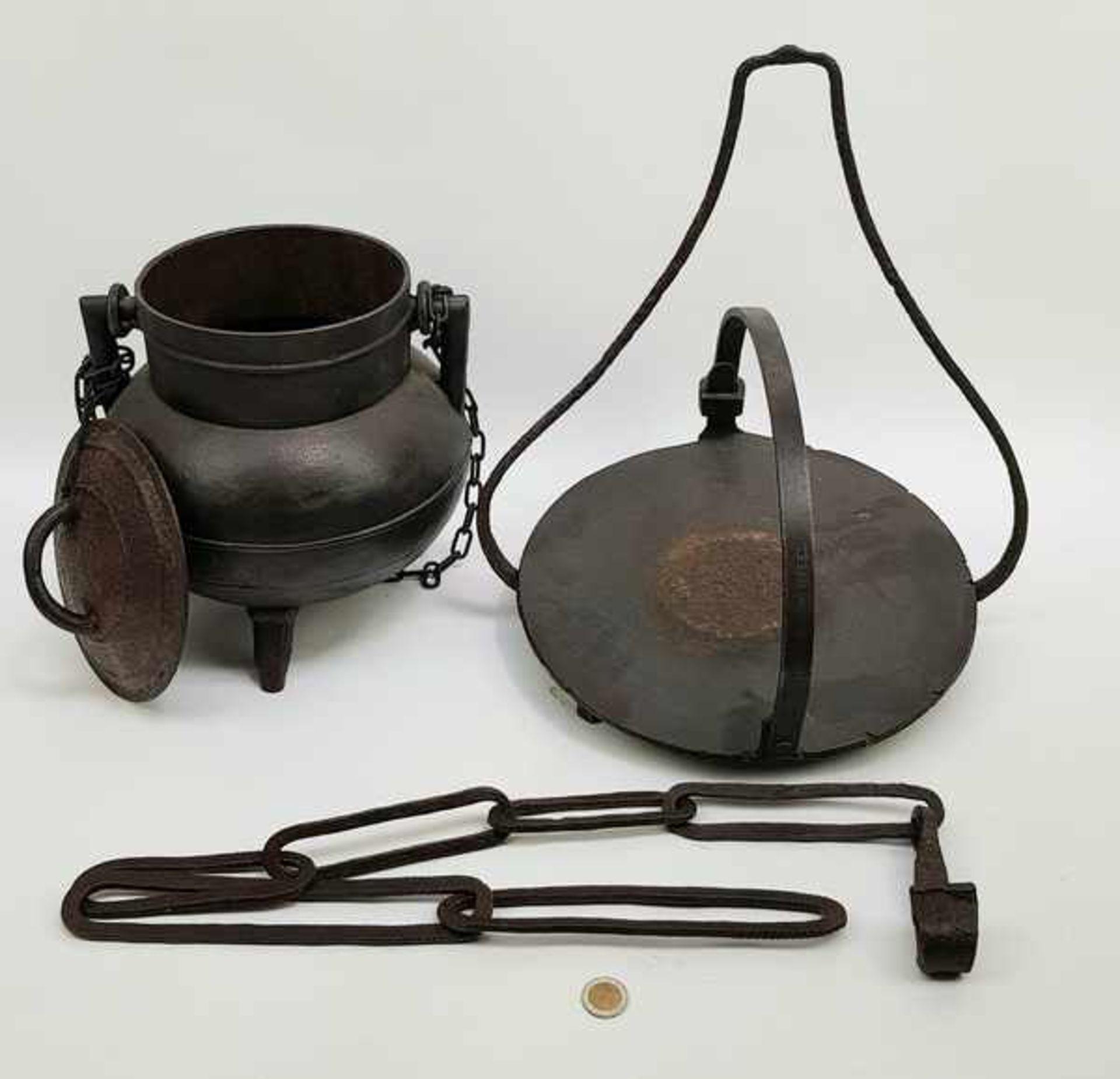 Los 175 - (Antiek) Ketelhanger en kookpot