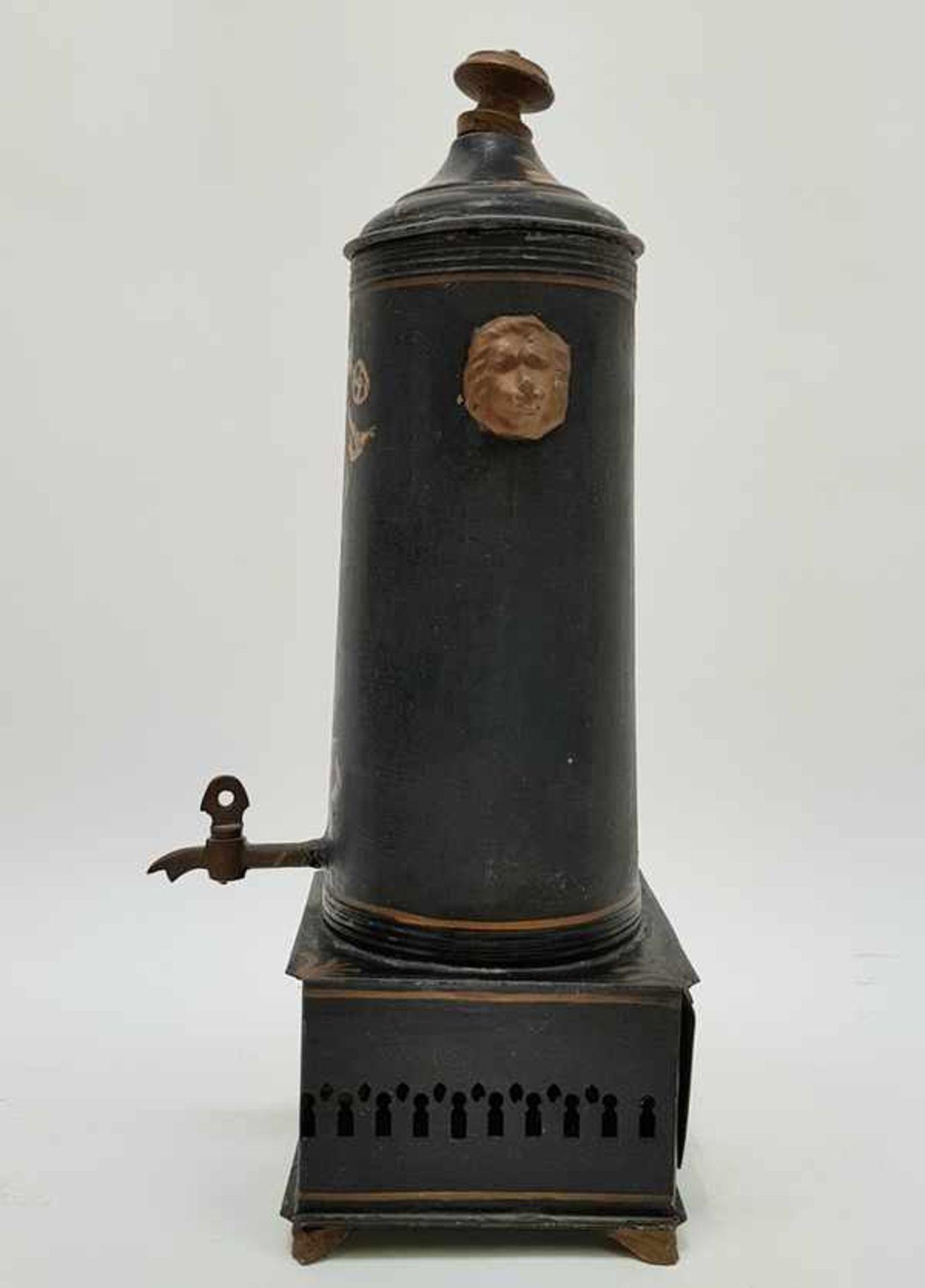 (Antiek) Blikken kraantjespot, theebus en dienblad - Image 2 of 10