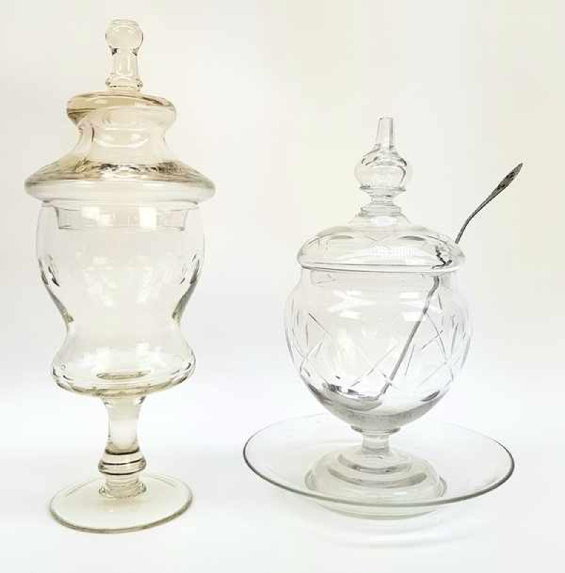 (Antiek) Glazen koekjespot en bowl schaal