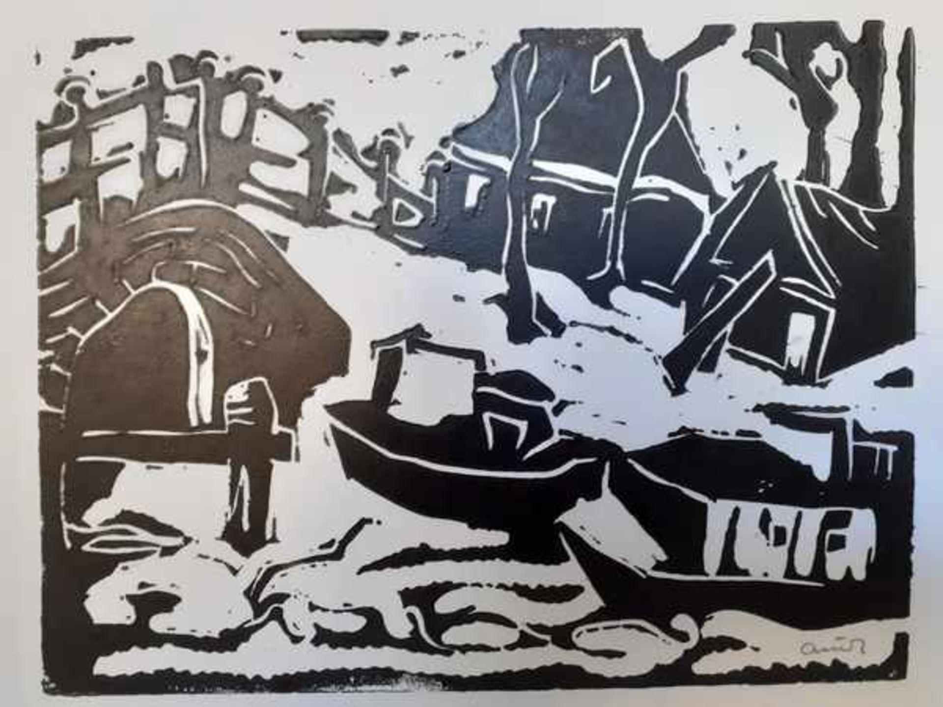 Los 298 - (Kunst) Linosnede, Arie Zuidersma