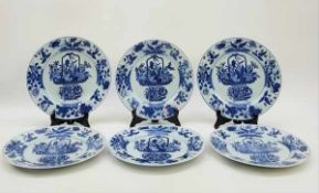 (Aziatica) Zes blauw witte borden - China - ca. 1700 (Kangxi periode)